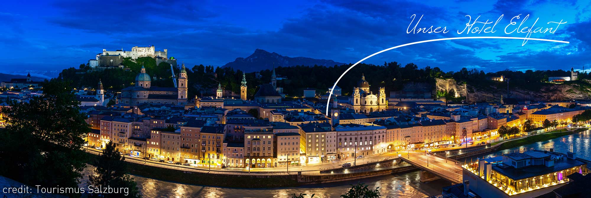 Hotel Elefant Zentrum Salzburg Altstadt bei Nacht